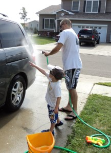 Kenton washing car