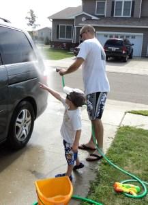 Kenton washing car