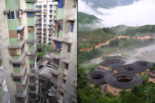 Left: Chongqing City, a dense cluster of apartment towers in China's most populous municipality. Right: Tulou earth village of the Fujian Hakka people.