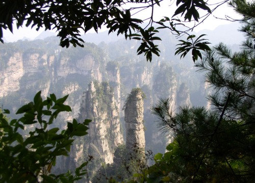 Rock formations of Wulingyuan National Park in northern Hunan.